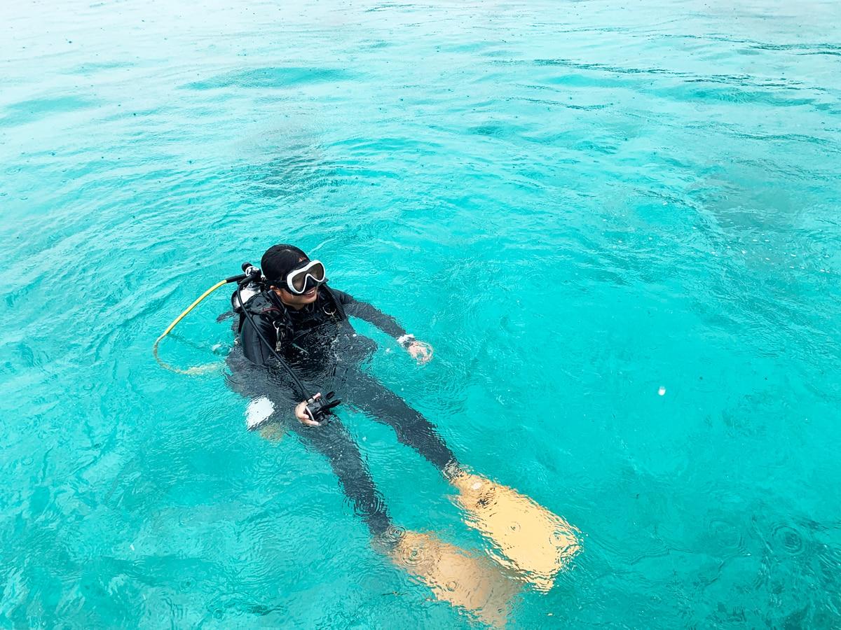 5mから10mほどの浅い場所でダイビング