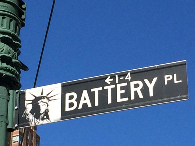 ニューヨークバッテリーパークの看板