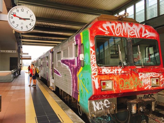 アベイロからアゲダへ向かう電車