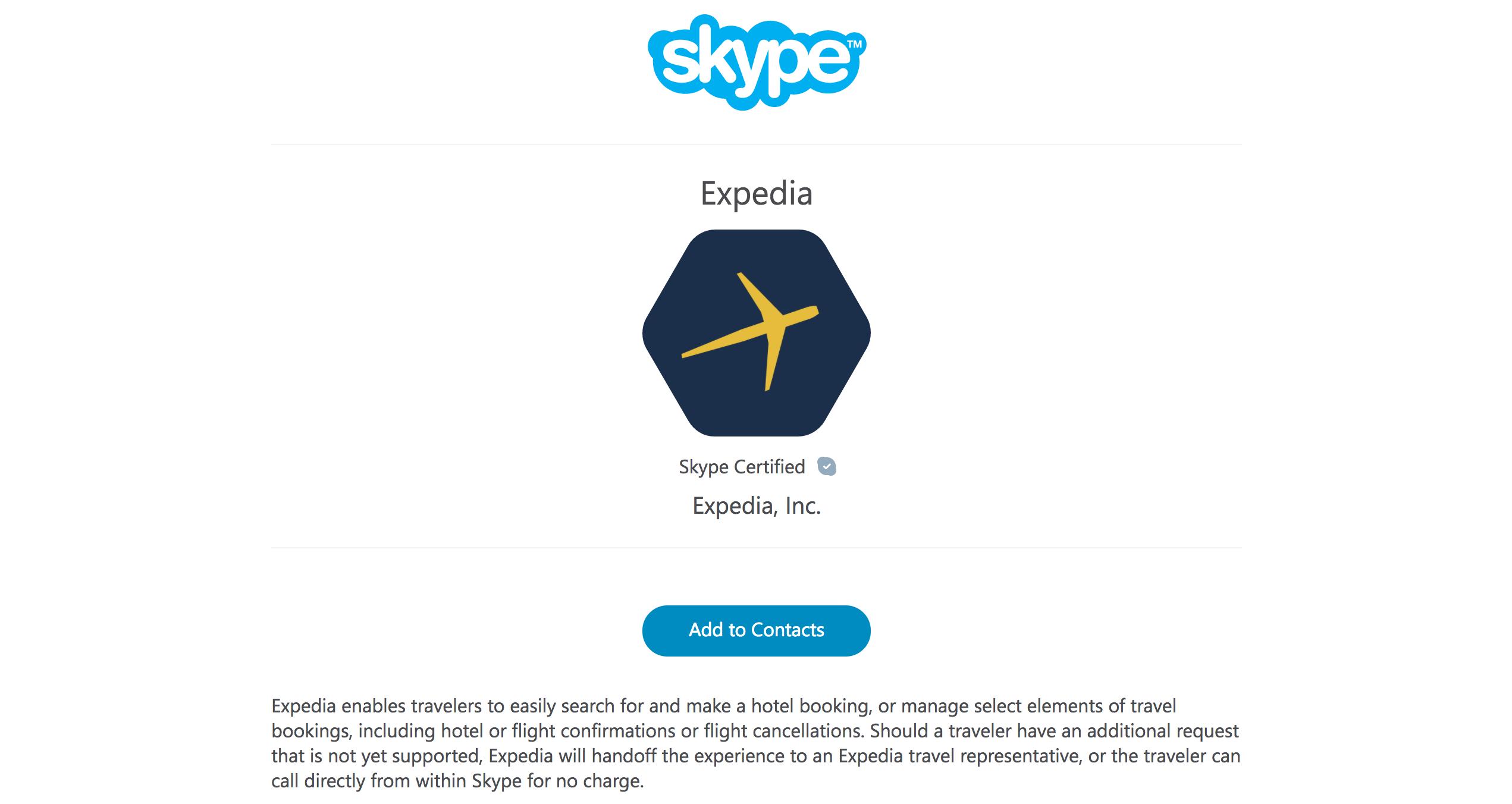 「Expedia」がSkypeで旅行の相談できるチャットボットを開始